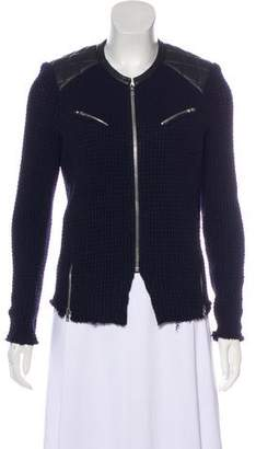 IRO Leather-Accented Knit Cardigan