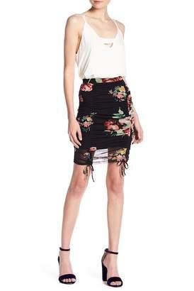 Lush Floral Mesh Ruched Mini Skirt