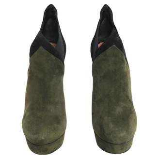 Alaia Green Suede Ankle boots