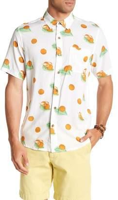 Natural Blue Short Sleeve Coconut Print Modern Fit Shirt
