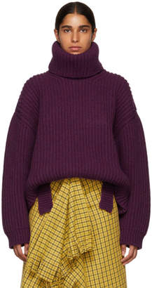 Balenciaga Purple Ultra Rib Knit Turtleneck