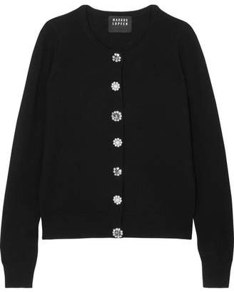 Markus Lupfer April Embellished Merino Wool Cardigan - Black
