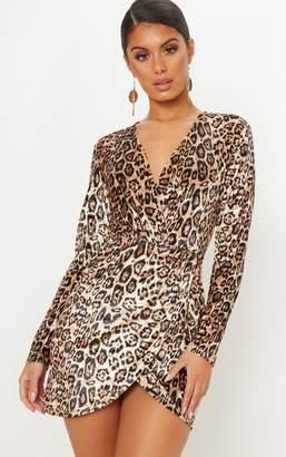 b631a2e8 PrettyLittleThing Tan Velvet Leopard Plunge Wrap Bodycon Dress