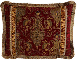 Horchow Austin Horn Classics Standard Scarlet Pieced Sham with Fringe