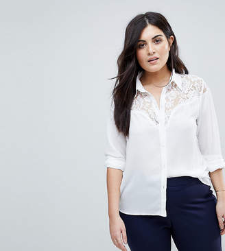 Fashion Union Plus Western Shirt With Lace Insert