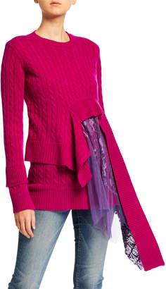 Sies Marjan Wool-Cashmere Asymmetric Lace Sweater