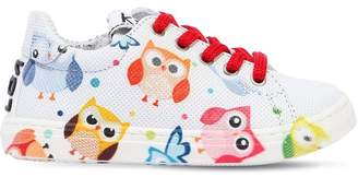 Owl Printed Leather Sneakers