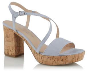 aebd1e13e7f01 George Blue Faux-Suede Ankle Strap Cork Block Heels