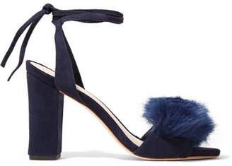 Nicolette Faux Fur-trimmed Suede Sandals - Storm blue