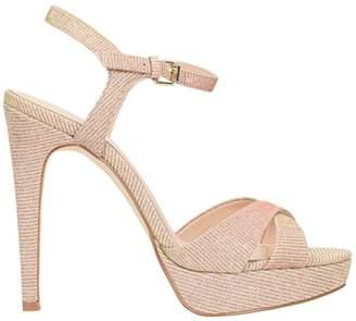 Bibi Lou Pink Glitter Plateau Sandals