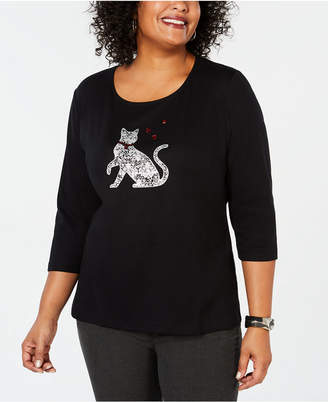 Karen Scott Plus Size Cotton Cat-Print Top, Created for Macy's