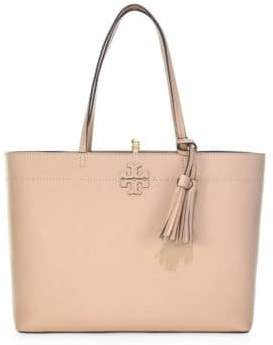 Tory Burch Mcgraw Leather Tote - BLACK - STYLE