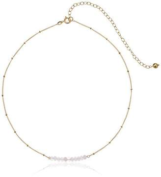 18k Yellow Gold Plated Sterling Silver Genuine Quartz Bead Station Choker Necklace