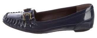 Fendi Leather Square-Toe Loafers