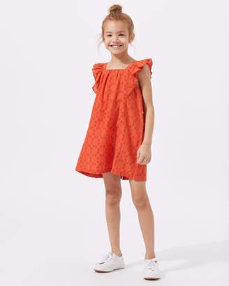 Jigsaw Spot Jacquard Frill Sleeve Dress