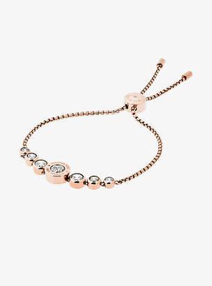 Michael Kors Cubic Zirconia Rose Gold-Tone Slider Bracelet