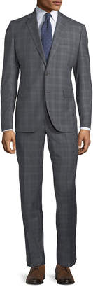 Neiman Marcus Two-Piece Windowpane Wool Suit, Gray