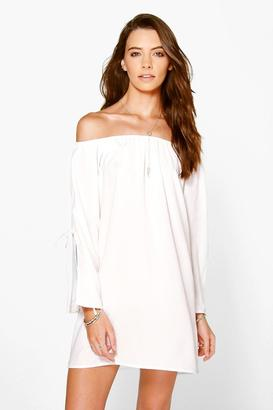 boohoo Beatrix Off The Shoulder Flare Sleeve Shift Dress $20 thestylecure.com