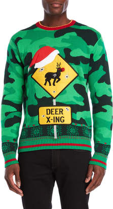 Fashion Ave Knits Holiday Reindeer Crossing Graphic Sweater