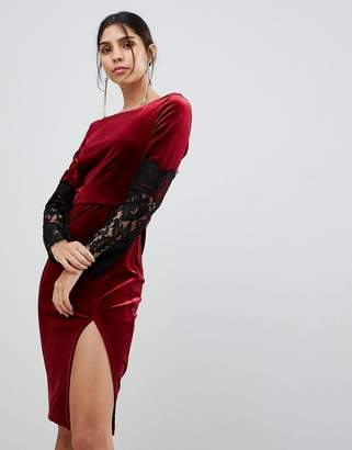 Paper Dolls Lace Long Sleeve Velvet Dress
