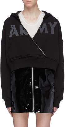 Amiri 'Army' slogan print cross front cropped hoodie