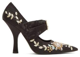 Erdem Fabiola Point Toe Embroidered Moire Pumps - Womens - Black