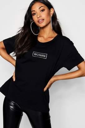 boohoo Nellie Diamonte Woman Slogan T-Shirt