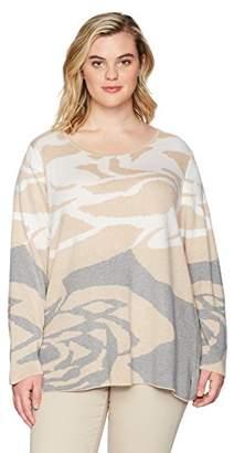 Calvin Klein Women's Plus Size Floral Jacquard Crewneck