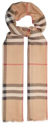 Burberry House Check Wool Blend Scarf - Womens - Camel