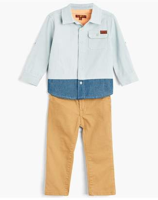 7 For All Mankind Kids Boys 12-24M Denim Shirt Tee Jean In Light Wash