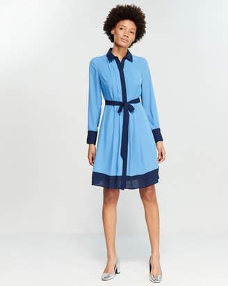 Nanette Lepore Nanette Two-Tone Pintuck Shirtdress
