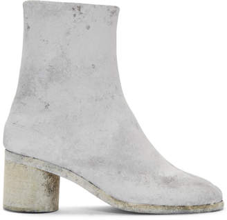 Maison Margiela Grey and White Painted Tabi Boots