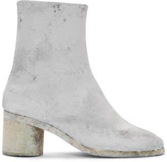 Maison Margiela Grey and White Painted Tabi Boots