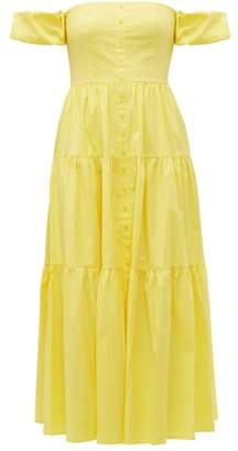 STAUD Elio Off The Shoulder Cotton Blend Maxi Dress - Womens - Light Yellow