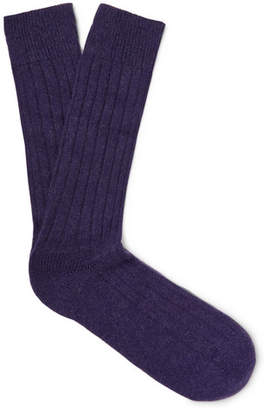 Pantherella Waddington Ribbed Cashmere-Blend Socks - Men - Dark purple