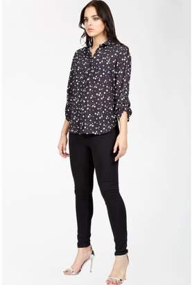 Select Fashion Fashion Womens Grey Star Print Double Pocket Lotus Shirt - size 6