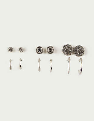 Full Tilt 6 Pairs Silver Stud & Hoop Earrings