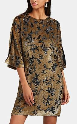 J. Mendel Women's Sequined Silk Cocktail Shift Dress - Blk, Gold