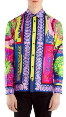 Versace Baroque Printed Silk Button-Down Shirt