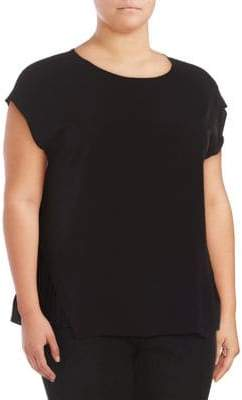 Lord & Taylor Plus Short-Sleeve High-Low Top