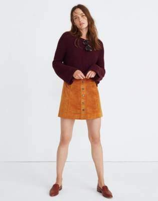 Madewell Velveteen A-Line Mini Skirt: Button-Front Edition