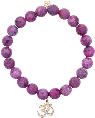 Sydney Evan 14kt gold ruby beaded bracelet with diamond OM charm