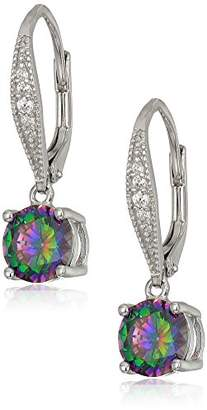 Sterling 7 mm Drop Earrings On Pave Lever Back White and Mystic AAA 2.6K Cubic Zirconia Dangle Earrings (2.66 cttw)