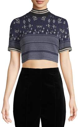 Anna Sui Women's Fairy Knit Jacquard Cropped Top
