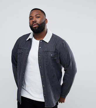 Asos PLUS Denim Overshirt With Borg Outershell In Black