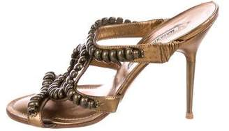 Manolo Blahnik Metallic Slide Sandals