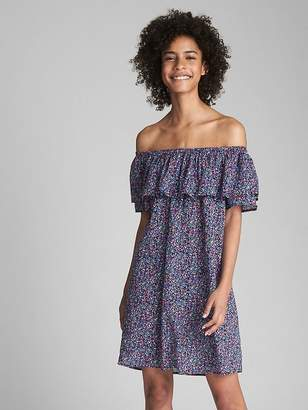 Gap Print Off-Shoulder Ruffle Cover-Up
