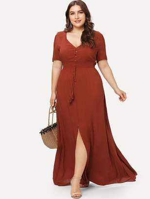 Shein Shirred Waist Slit Hem Fit and Flare Dress