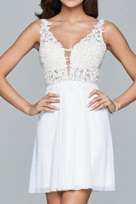 Faviana Lacy Beaded Dress