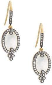 Freida Rothman Classic Cubic Zirconia, Sterling Silver Rhodium-Plated & 14K Goldplated Mother of Pearl Slice on Earwire Earrings
